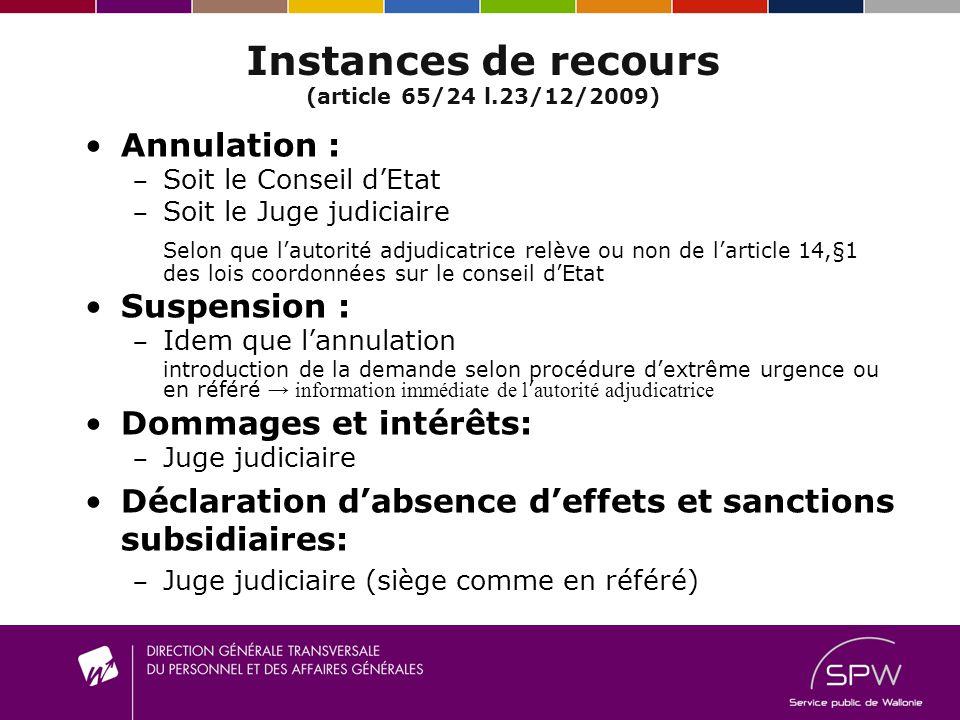 Instances de recours (article 65/24 l.23/12/2009) Annulation : S oit le Conseil dEtat S oit le Juge judiciaire Selon que lautorité adjudicatrice relèv