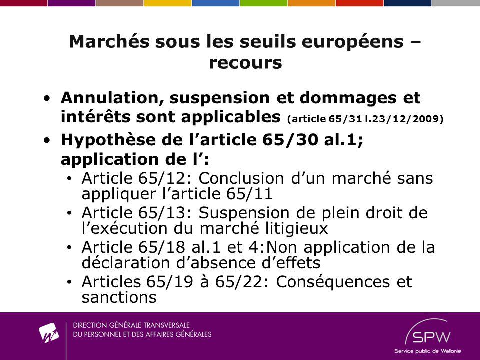 Marchés sous les seuils européens – recours Annulation, suspension et dommages et intérêts sont applicables (article 65/31 l.23/12/2009) Hypothèse de