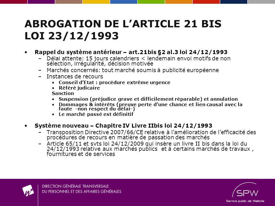 ABROGATION DE LARTICLE 21 BIS LOI 23/12/1993 Rappel du système antérieur – art.21bis §2 al.3 loi 24/12/1993 –D–Délai attente: 15 jours calendriers < l