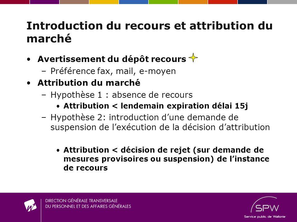 Introduction du recours et attribution du marché Avertissement du dépôt recours –P–Préférence fax, mail, e-moyen Attribution du marché –H–Hypothèse 1