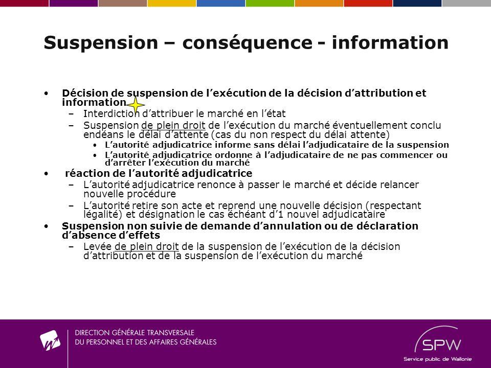 Suspension – conséquence - information Décision de suspension de lexécution de la décision dattribution et information –I–Interdiction dattribuer le m