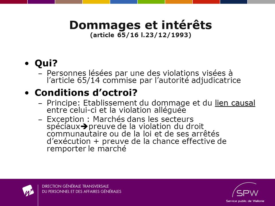 Dommages et intérêts (article 65/16 l.23/12/1993) Qui? P ersonnes lésées par une des violations visées à larticle 65/14 commise par lautorité adjudica
