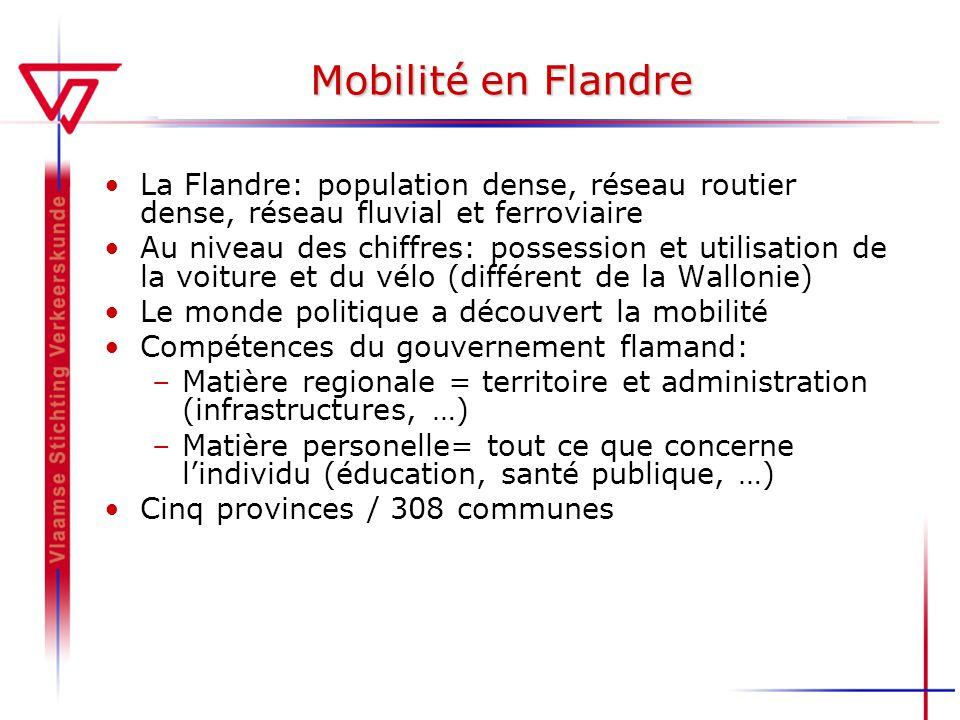 Mobilité en Flandre La Flandre: population dense, réseau routier dense, réseau fluvial et ferroviaire Au niveau des chiffres: possession et utilisatio