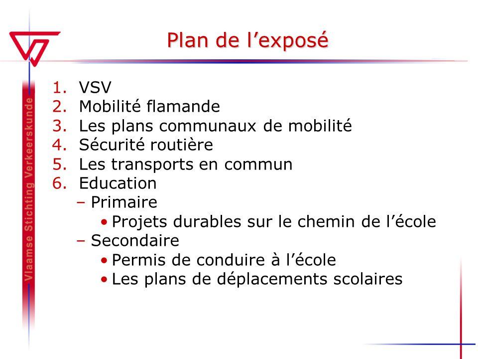 Plan de lexposé 1.VSV 2.Mobilité flamande 3.Les plans communaux de mobilité 4.Sécurité routière 5.Les transports en commun 6.Education –Primaire Proje