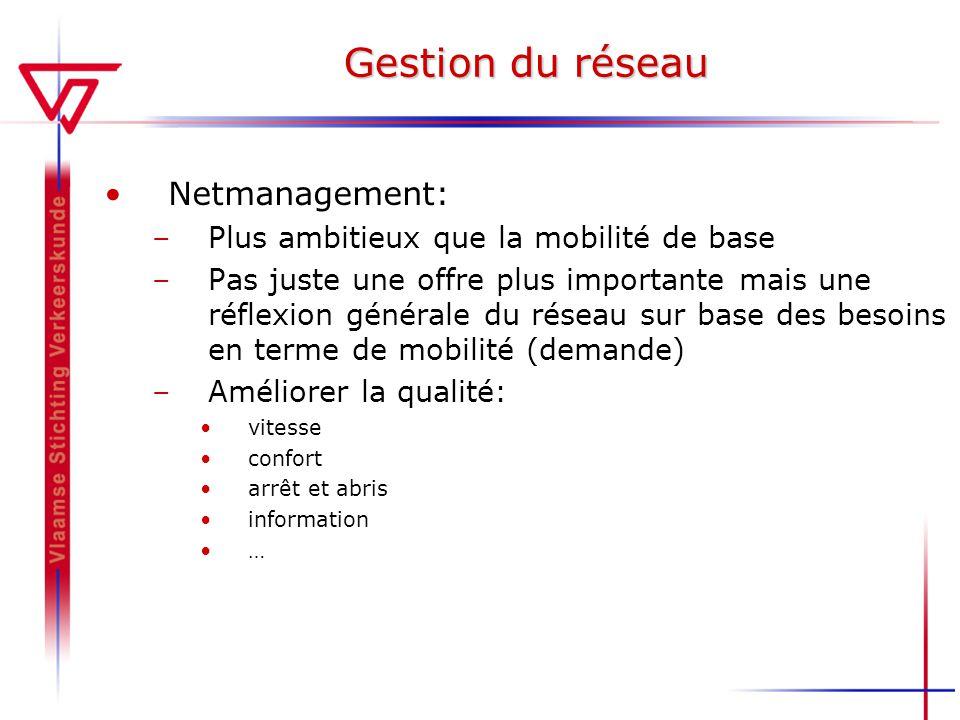 Gestion du réseau Netmanagement: –Plus ambitieux que la mobilité de base –Pas juste une offre plus importante mais une réflexion générale du réseau su