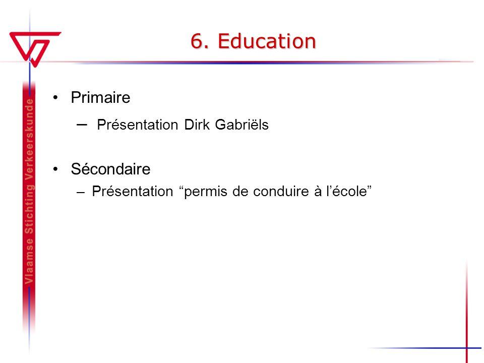 6. Education Primaire – Présentation Dirk Gabriëls Sécondaire –Présentation permis de conduire à lécole