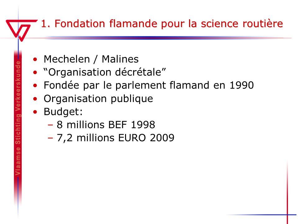 1. Fondation flamande pour la science routière Mechelen / Malines Organisation décrétale Fondée par le parlement flamand en 1990 Organisation publique