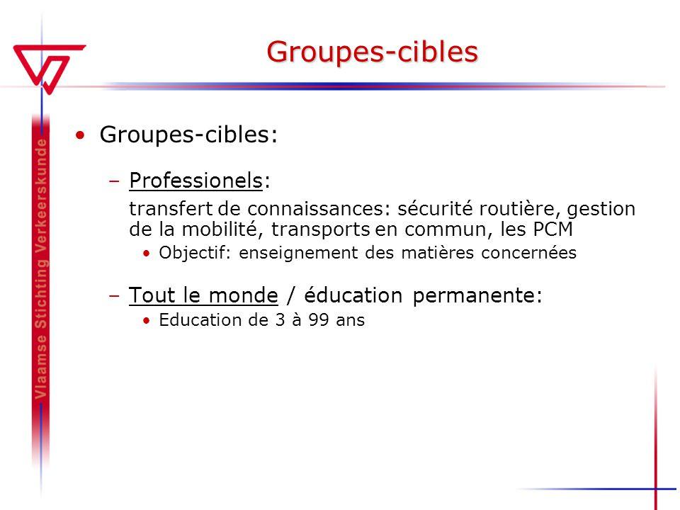 Groupes-cibles Groupes-cibles: –Professionels: transfert de connaissances: sécurité routière, gestion de la mobilité, transports en commun, les PCM Objectif: enseignement des matières concernées –Tout le monde / éducation permanente: Education de 3 à 99 ans