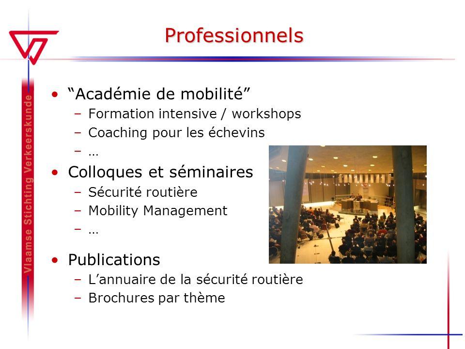 Professionnels Académie de mobilité –Formation intensive / workshops –Coaching pour les échevins –… Colloques et séminaires –Sécurité routière –Mobili