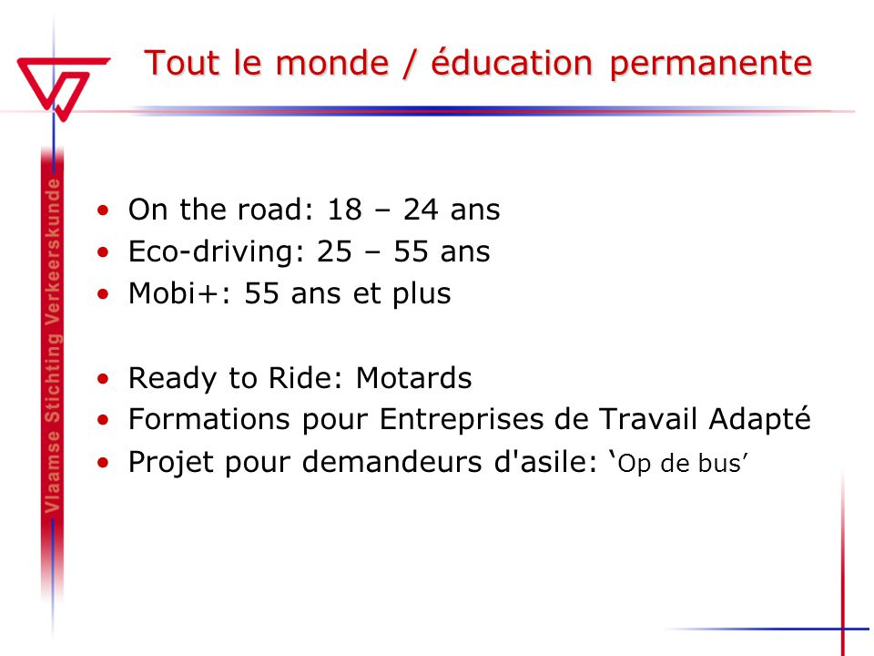 Tout le monde / éducation permanente On the road: 18 – 24 ans Eco-driving: 25 – 55 ans Mobi+: 55 ans et plus Ready to Ride: Motards Formations pour En