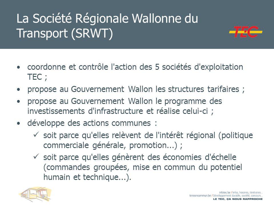 La Société Régionale Wallonne du Transport (SRWT) coordonne et contrôle l'action des 5 sociétés d'exploitation TEC ; propose au Gouvernement Wallon le