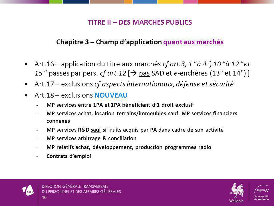 TITRE II – DES MARCHES PUBLICS Chapitre 3 – Champ dapplication quant aux marchés Art.16 – application du titre aux marchés cf art.3, 1° à 4°, 10° à 12° et 15° passés par pers.