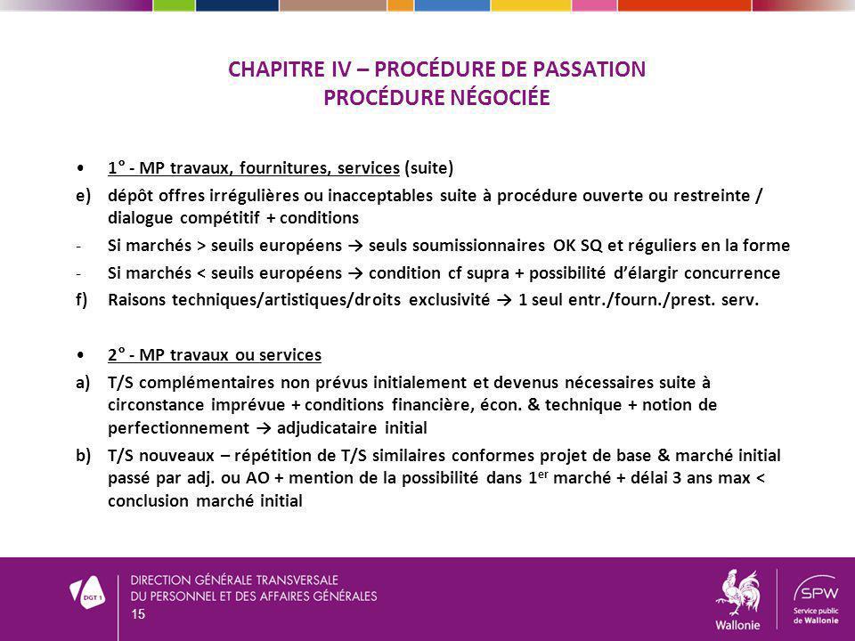 CHAPITRE IV – PROCÉDURE DE PASSATION PROCÉDURE NÉGOCIÉE 1° - MP travaux, fournitures, services (suite) e)dépôt offres irrégulières ou inacceptables su