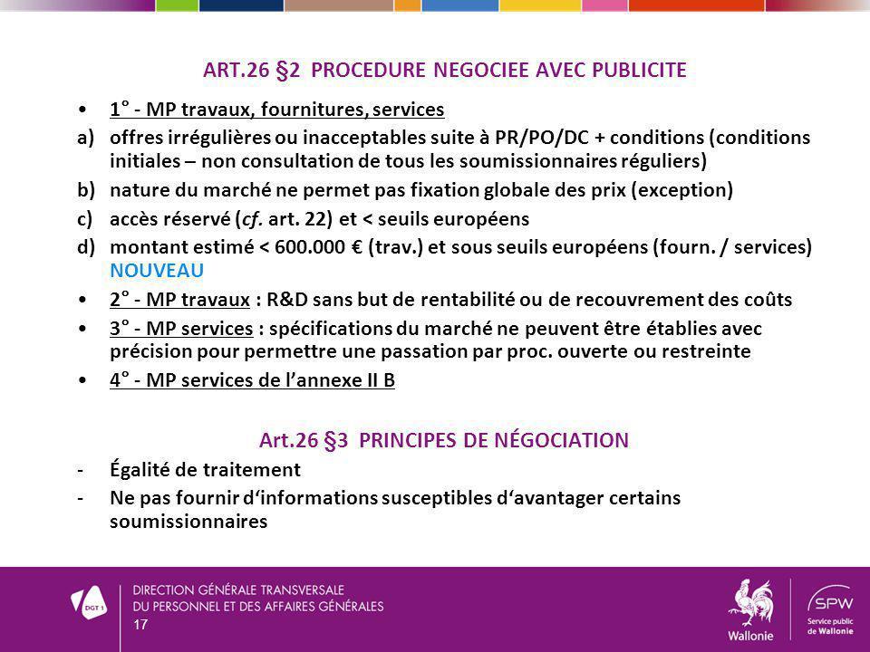 1° - MP travaux, fournitures, services a)offres irrégulières ou inacceptables suite à PR/PO/DC + conditions (conditions initiales – non consultation d