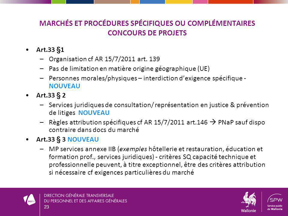 MARCHÉS ET PROCÉDURES SPÉCIFIQUES OU COMPLÉMENTAIRES CONCOURS DE PROJETS Art.33 §1 –Organisation cf AR 15/7/2011 art. 139 –Pas de limitation en matièr