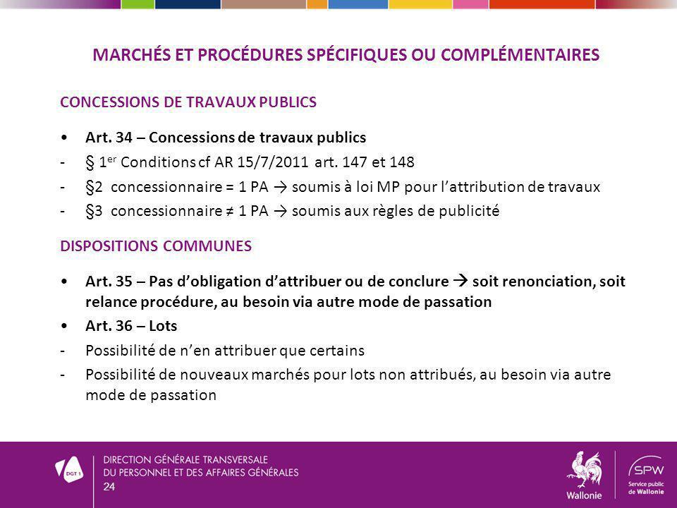 MARCHÉS ET PROCÉDURES SPÉCIFIQUES OU COMPLÉMENTAIRES CONCESSIONS DE TRAVAUX PUBLICS Art. 34 – Concessions de travaux publics -§ 1 er Conditions cf AR