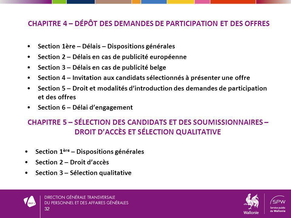 Section 1ère – Délais – Dispositions générales Section 2 – Délais en cas de publicité européenne Section 3 – Délais en cas de publicité belge Section
