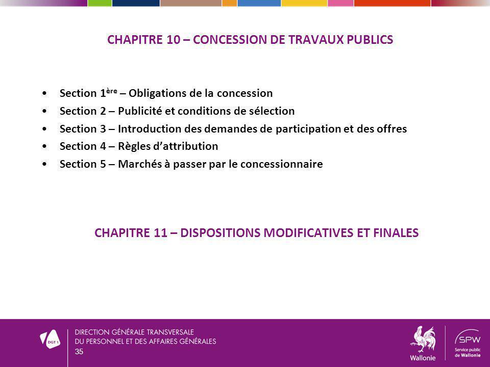 CHAPITRE 10 – CONCESSION DE TRAVAUX PUBLICS Section 1 ère – Obligations de la concession Section 2 – Publicité et conditions de sélection Section 3 –