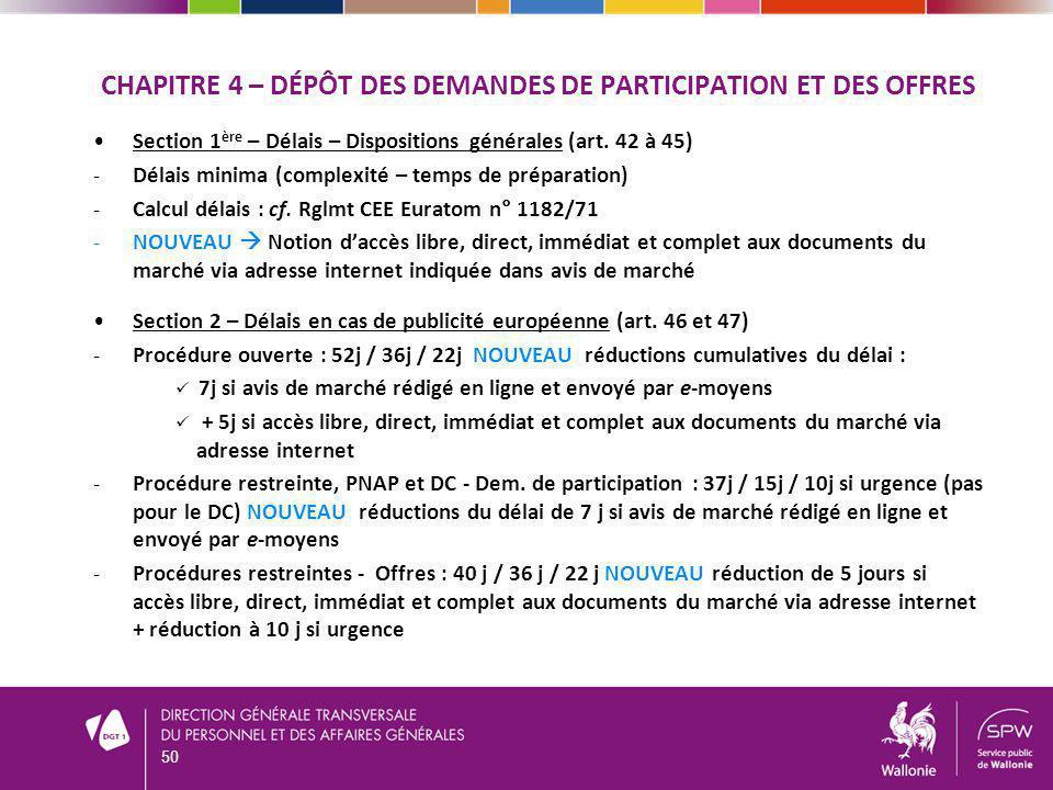 CHAPITRE 4 – DÉPÔT DES DEMANDES DE PARTICIPATION ET DES OFFRES Section 1 ère – Délais – Dispositions générales (art.