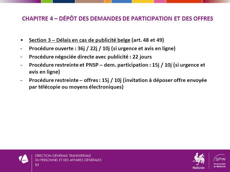 CHAPITRE 4 – DÉPÔT DES DEMANDES DE PARTICIPATION ET DES OFFRES Section 3 – Délais en cas de publicité belge (art. 48 et 49) -Procédure ouverte : 36j /