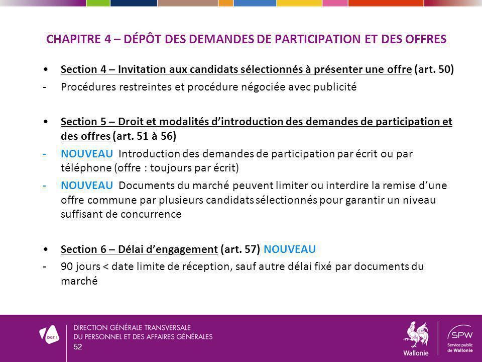 CHAPITRE 4 – DÉPÔT DES DEMANDES DE PARTICIPATION ET DES OFFRES Section 4 – Invitation aux candidats sélectionnés à présenter une offre (art.