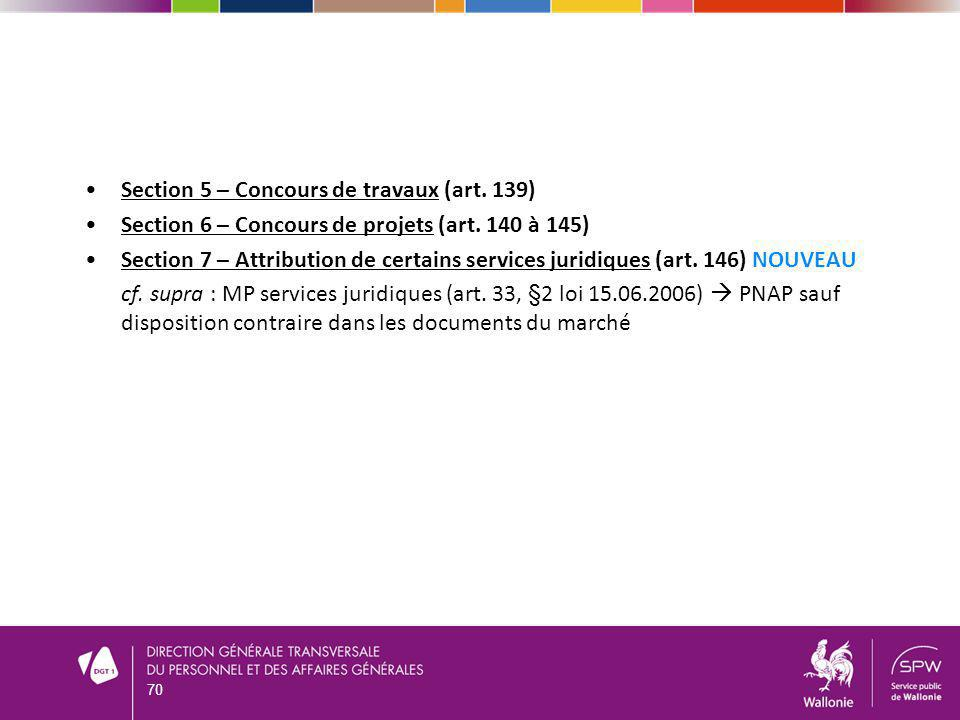 Section 5 – Concours de travaux (art. 139) Section 6 – Concours de projets (art. 140 à 145) Section 7 – Attribution de certains services juridiques (a