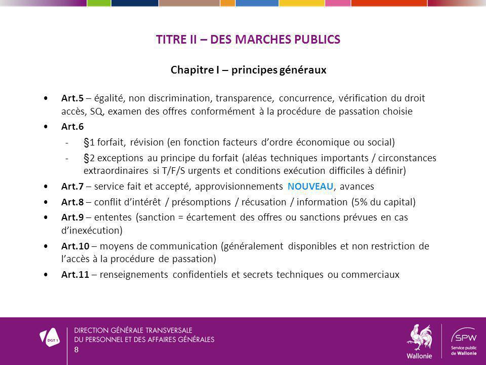 TITRE II – DES MARCHES PUBLICS Chapitre I – principes généraux Art.5 – égalité, non discrimination, transparence, concurrence, vérification du droit a