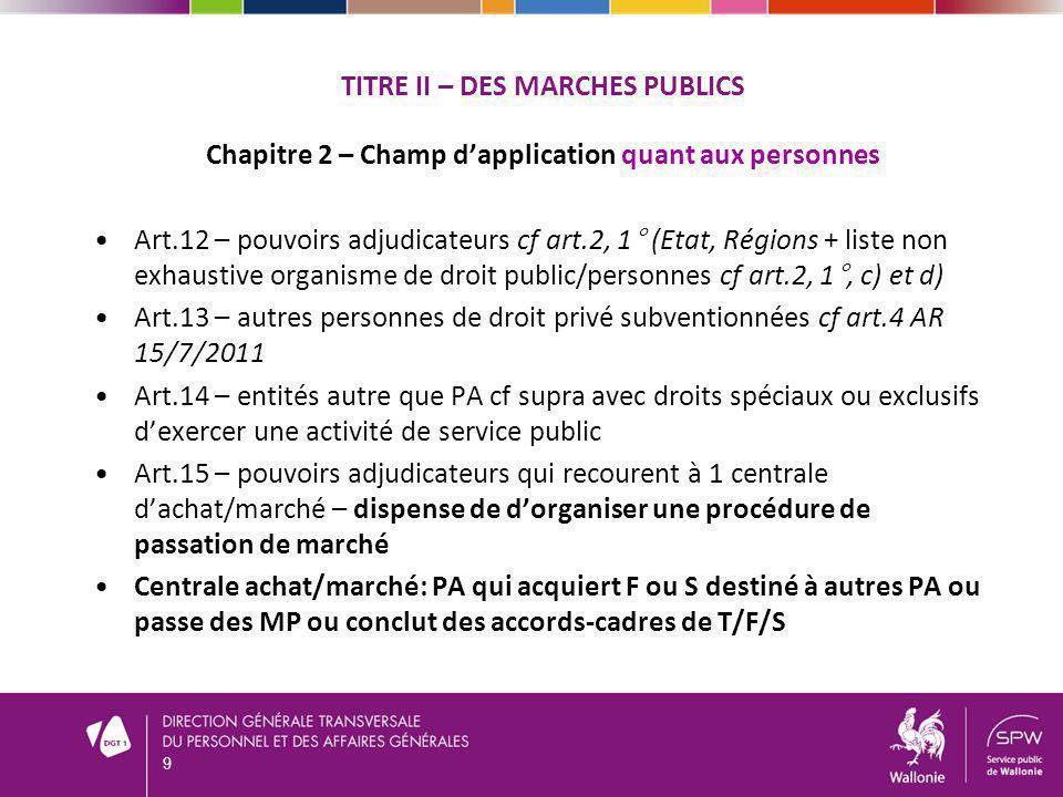 TITRE II – DES MARCHES PUBLICS Chapitre 2 – Champ dapplication quant aux personnes Art.12 – pouvoirs adjudicateurs cf art.2, 1° (Etat, Régions + liste