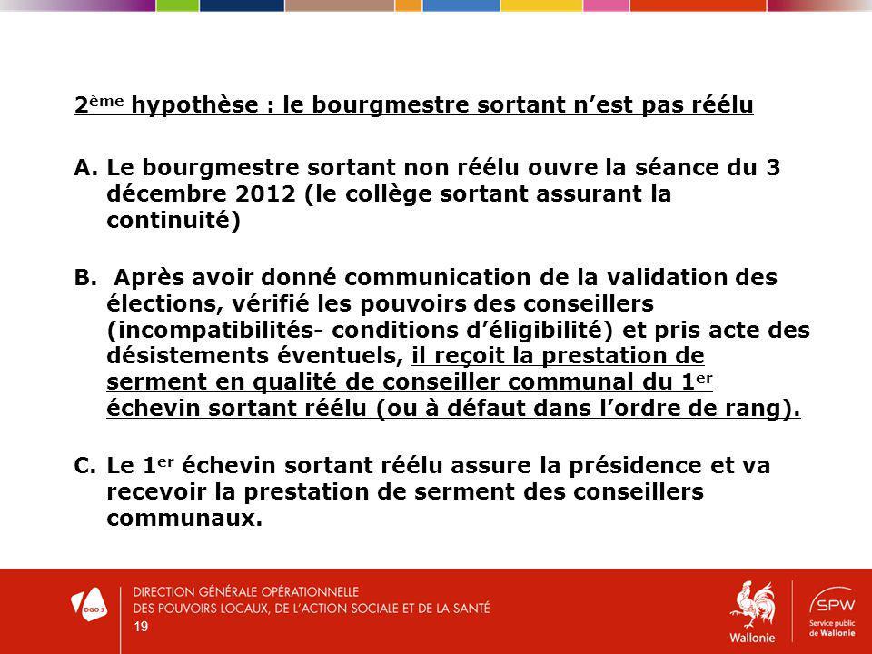 2 ème hypothèse : le bourgmestre sortant nest pas réélu A.Le bourgmestre sortant non réélu ouvre la séance du 3 décembre 2012 (le collège sortant assurant la continuité) B.
