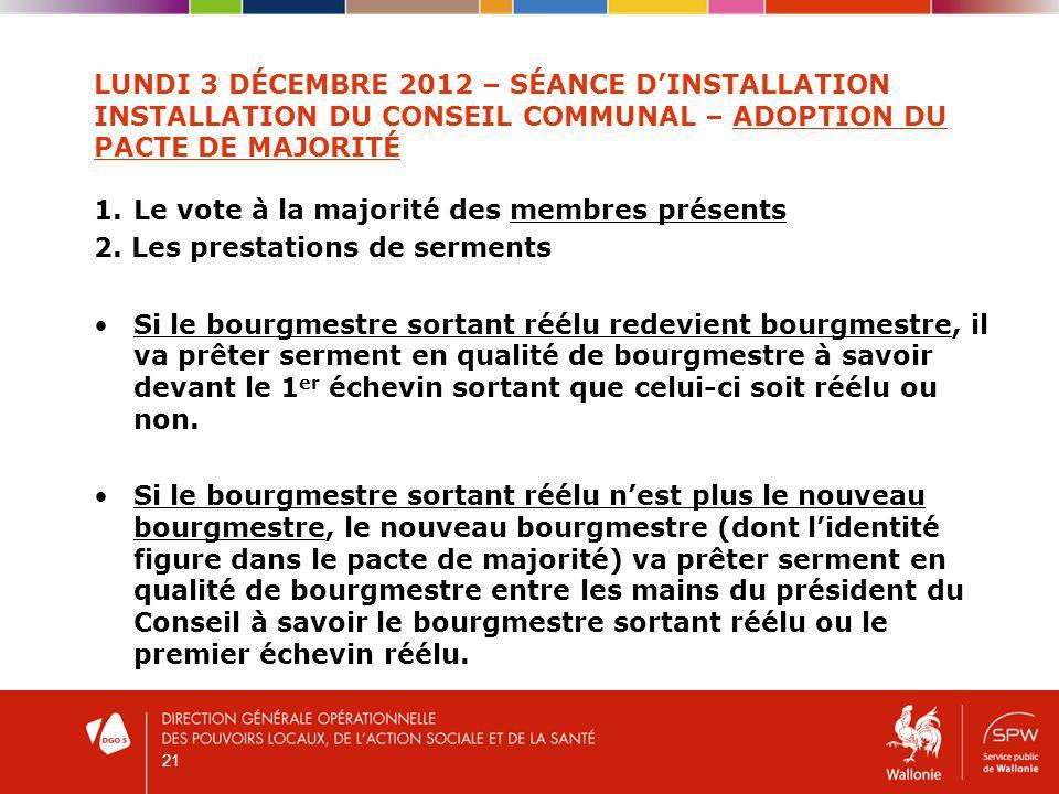 LUNDI 3 DÉCEMBRE 2012 – SÉANCE DINSTALLATION INSTALLATION DU CONSEIL COMMUNAL – ADOPTION DU PACTE DE MAJORITÉ 1.Le vote à la majorité des membres présents 2.