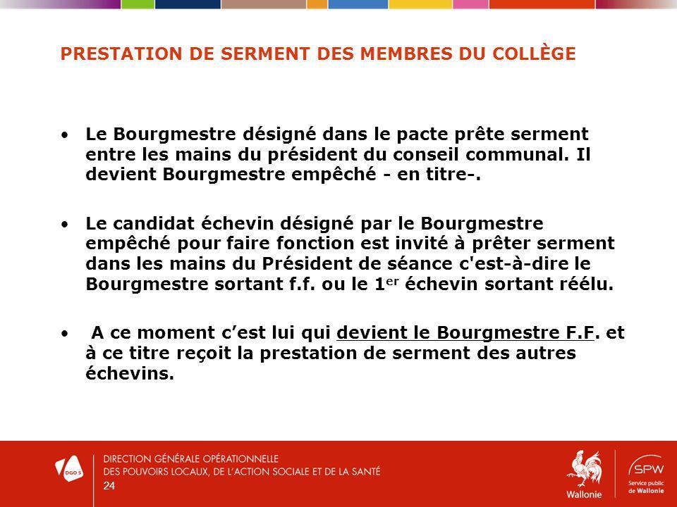 PRESTATION DE SERMENT DES MEMBRES DU COLLÈGE Le Bourgmestre désigné dans le pacte prête serment entre les mains du président du conseil communal.