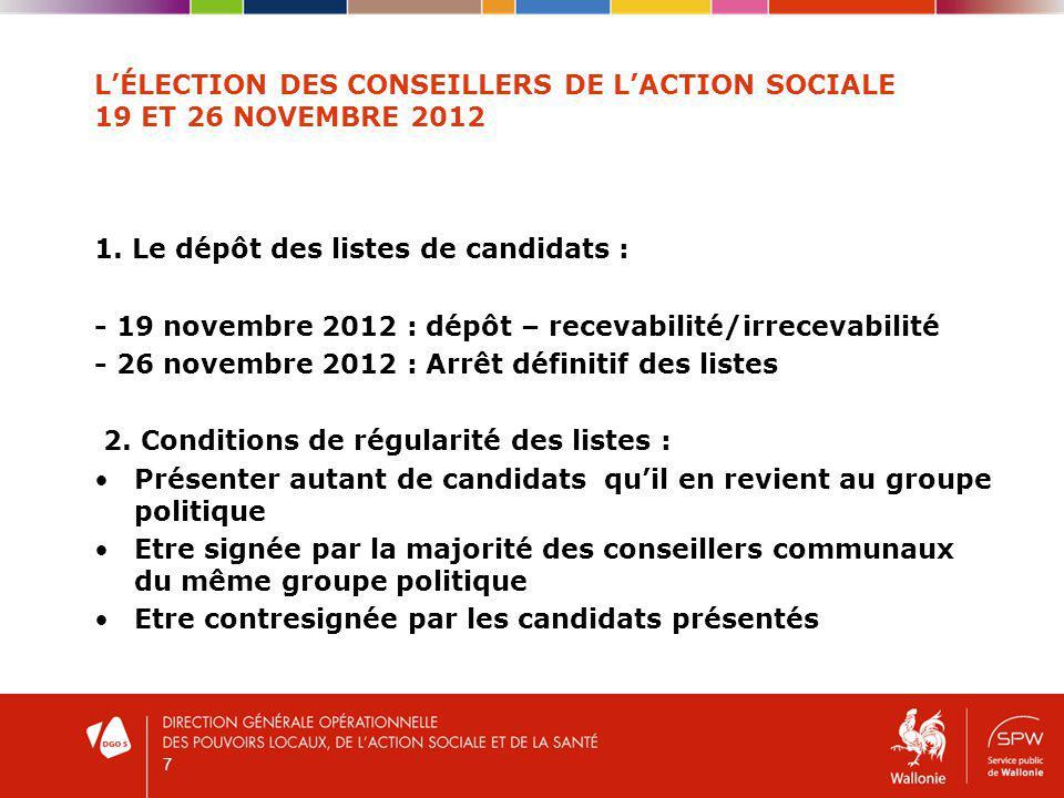 LÉLECTION DES CONSEILLERS DE LACTION SOCIALE 19 ET 26 NOVEMBRE 2012 1.