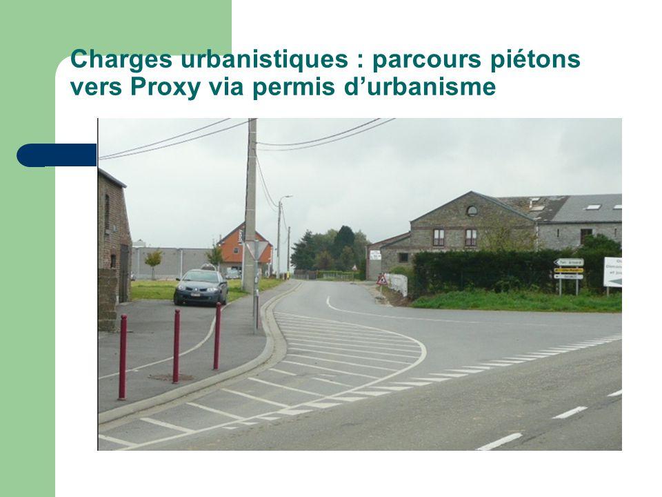 Charges urbanistiques : parcours piétons vers Proxy via permis durbanisme