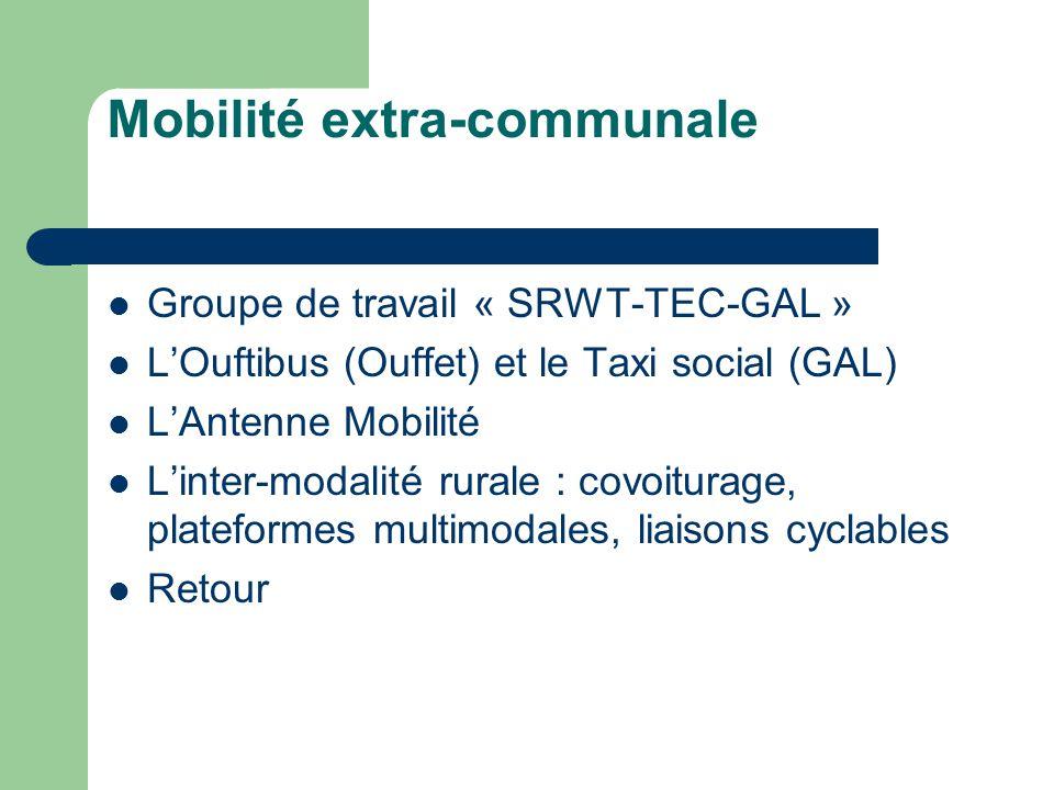 Mobilité extra-communale Groupe de travail « SRWT-TEC-GAL » LOuftibus (Ouffet) et le Taxi social (GAL) LAntenne Mobilité Linter-modalité rurale : covoiturage, plateformes multimodales, liaisons cyclables Retour