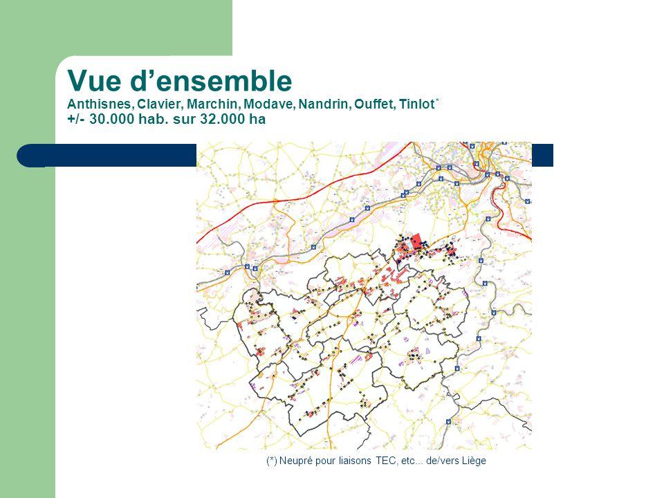 Vue densemble Anthisnes, Clavier, Marchin, Modave, Nandrin, Ouffet, Tinlot * +/- 30.000 hab.
