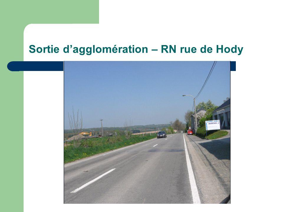 Sortie dagglomération – RN rue de Hody