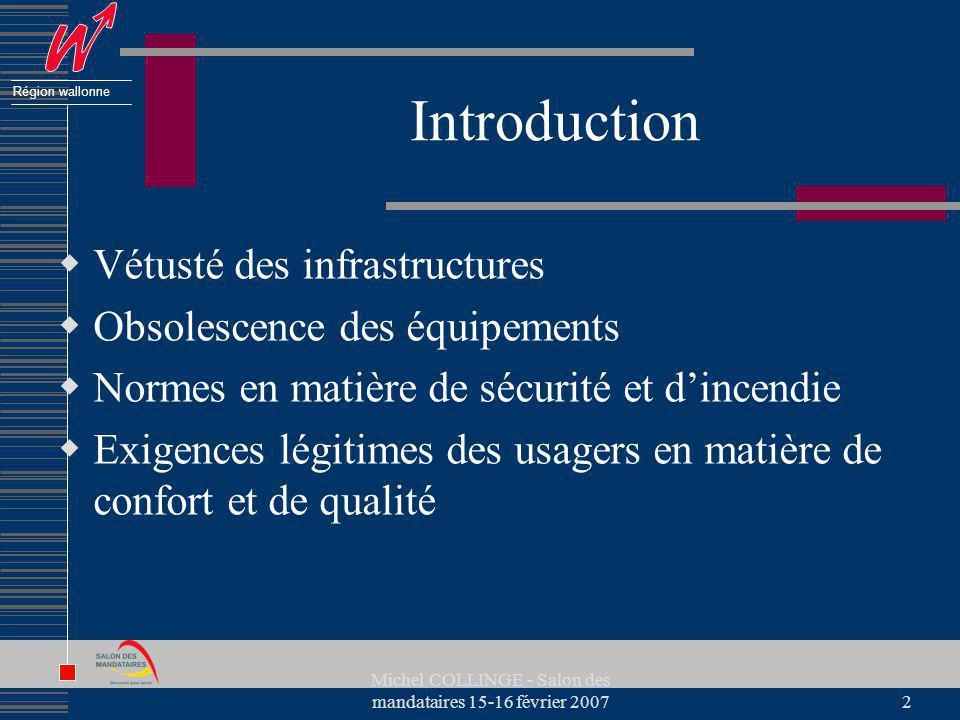 Région wallonne Michel COLLINGE - Salon des mandataires 15-16 février 20072 Introduction Vétusté des infrastructures Obsolescence des équipements Norm