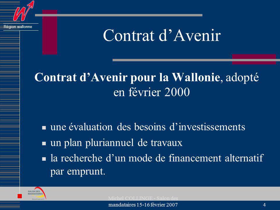 Région wallonne Michel COLLINGE - Salon des mandataires 15-16 février 20074 Contrat dAvenir Contrat dAvenir pour la Wallonie, adopté en février 2000 u