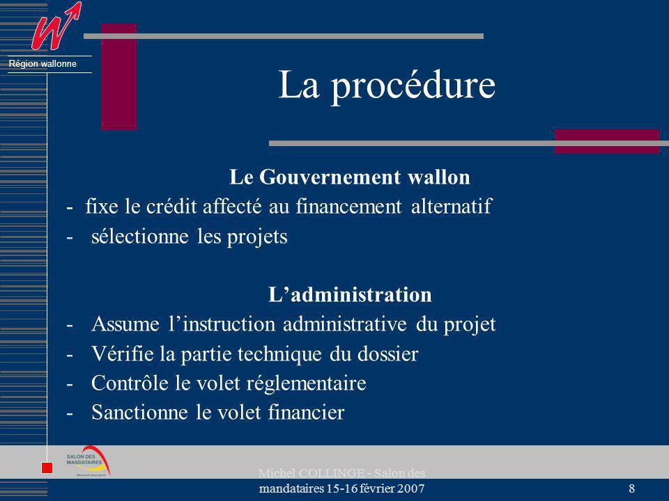 Région wallonne Michel COLLINGE - Salon des mandataires 15-16 février 20078 La procédure Le Gouvernement wallon - fixe le crédit affecté au financemen
