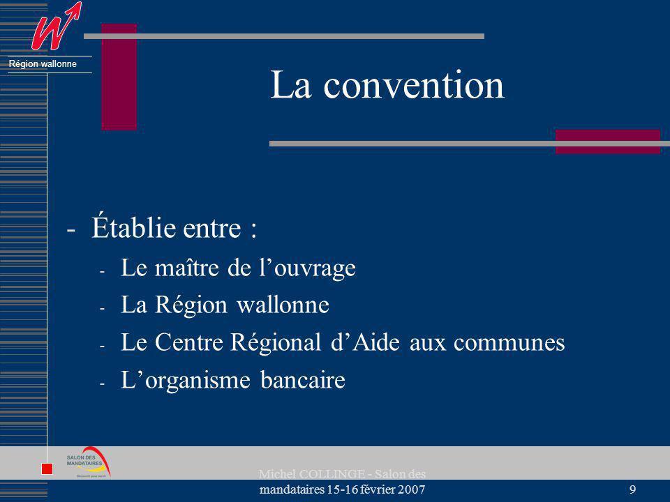 Région wallonne Michel COLLINGE - Salon des mandataires 15-16 février 20079 La convention -Établie entre : - Le maître de louvrage - La Région wallonn
