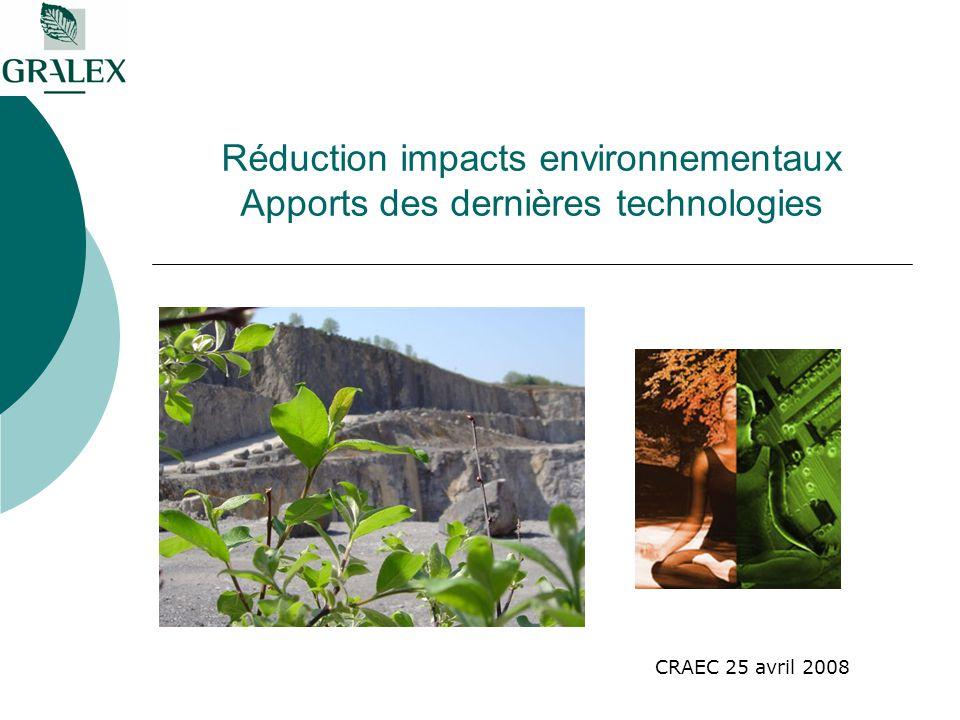 Réduction impacts environnementaux Apports des dernières technologies CRAEC 25 avril 2008
