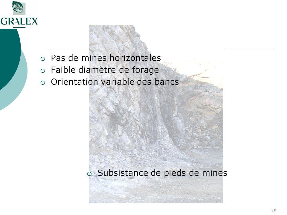 10 Pas de mines horizontales Faible diamètre de forage Orientation variable des bancs Subsistance de pieds de mines