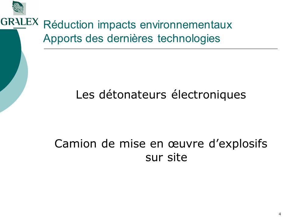 4 Réduction impacts environnementaux Apports des dernières technologies Les détonateurs électroniques Camion de mise en œuvre dexplosifs sur site