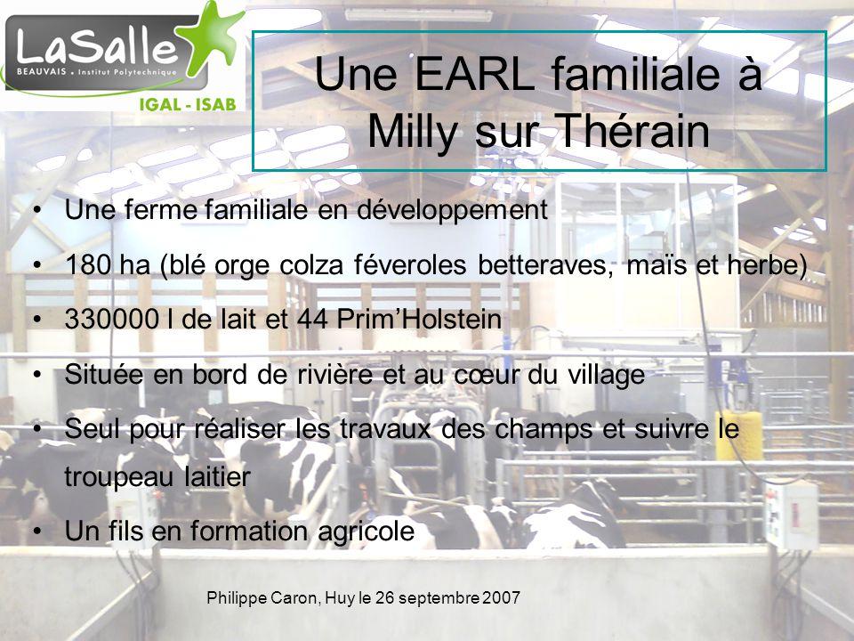Philippe Caron, Huy le 26 septembre 2007 Une EARL familiale à Milly sur Thérain Une ferme familiale en développement 180 ha (blé orge colza féveroles