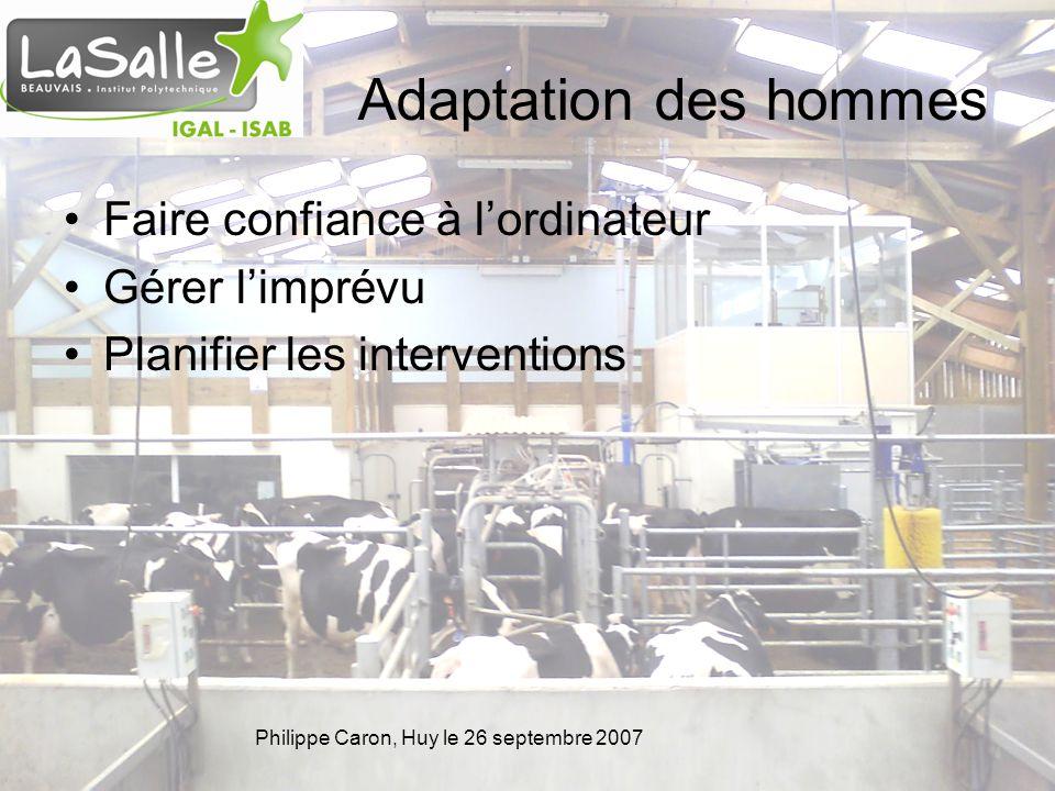 Philippe Caron, Huy le 26 septembre 2007 Adaptation des animaux Une affaire dapprentissage Robot Alimentation Barrières Rythme Vie de groupe