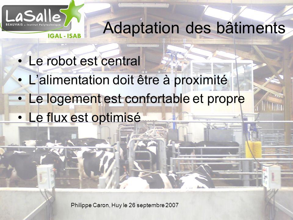 Philippe Caron, Huy le 26 septembre 2007 Adaptation des bâtiments Le robot est central Lalimentation doit être à proximité Le logement est confortable et propre Le flux est optimisé