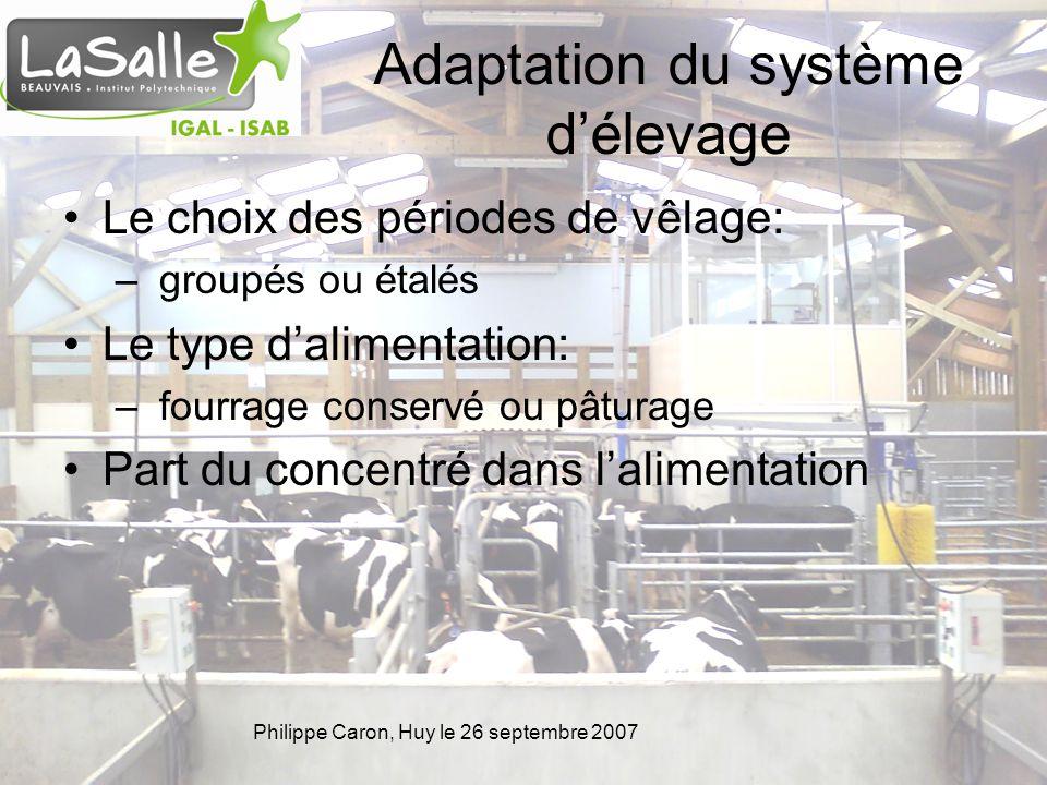 Philippe Caron, Huy le 26 septembre 2007 Adaptation du système délevage Le choix des périodes de vêlage: – groupés ou étalés Le type dalimentation: –