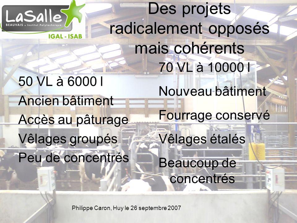 Philippe Caron, Huy le 26 septembre 2007 Des projets radicalement opposés mais cohérents 50 VL à 6000 l Ancien bâtiment Accès au pâturage Vêlages grou
