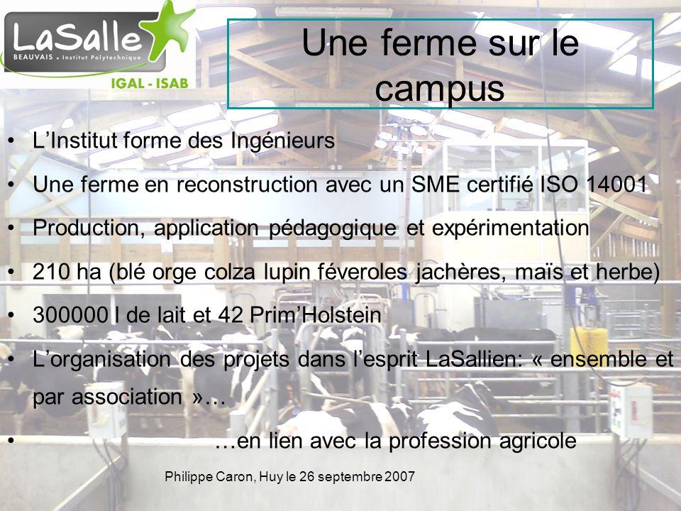 Philippe Caron, Huy le 26 septembre 2007 Une ferme sur le campus LInstitut forme des Ingénieurs Une ferme en reconstruction avec un SME certifié ISO 1