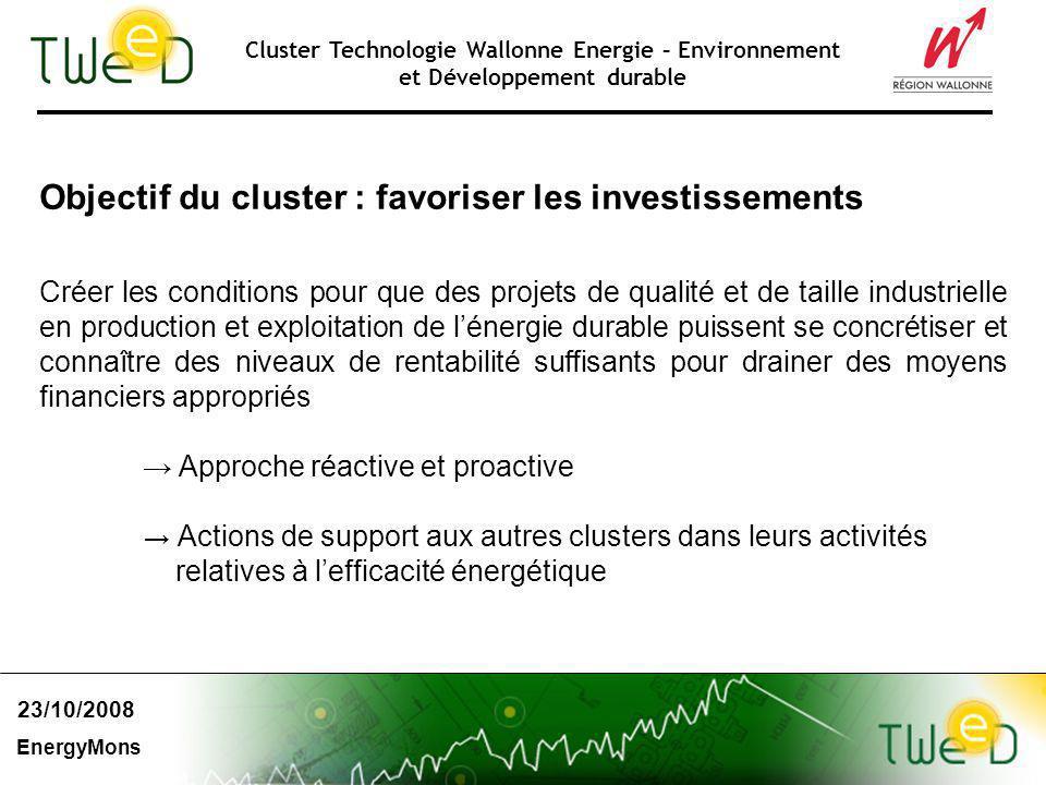 Cluster Technologie Wallonne Energie – Environnement et Développement durable Objectif du cluster : favoriser les investissements Créer les conditions